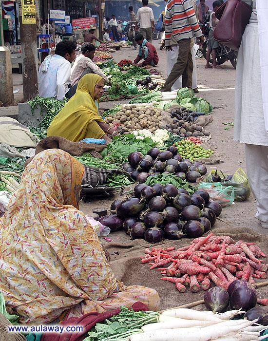 Овощной рынок в Индии.